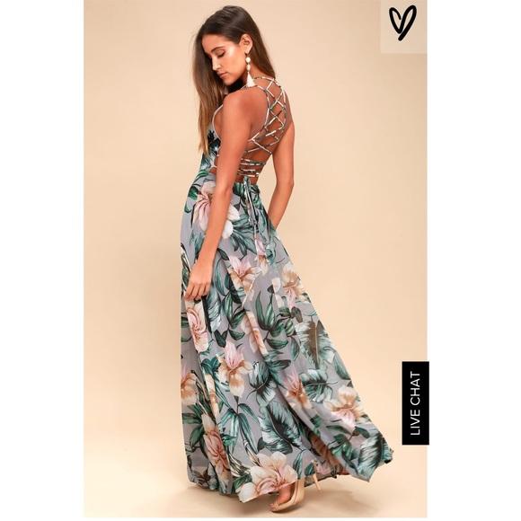 d8d3300c0145 Lulu s Dresses   Skirts - Grey Floral Print Maxi Dress - Lulu s